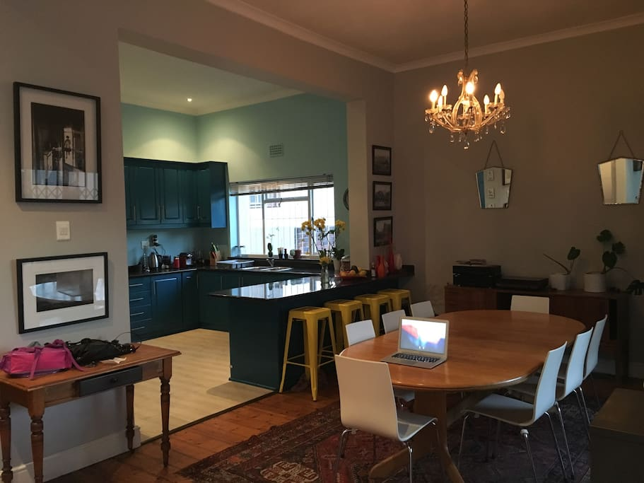 Dining area and open-plan kitchen