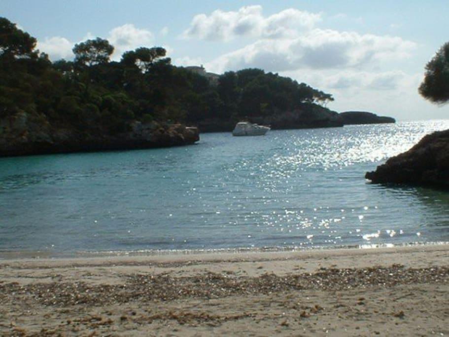 Beautiful beach of Cala Ferrera a two minute stroll away.