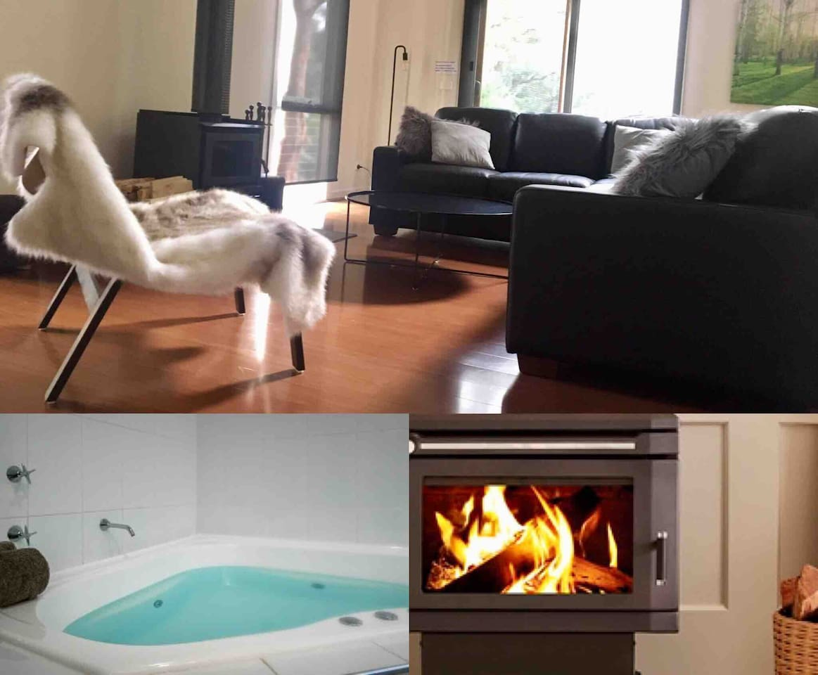 Mountain house with modern fittings & furnishings overlooking bubbling creek & bush.  Soak in the spa bath after your mountain adventures then relax on the huge leather fireside lounge or listen to the sounds of the bush by the outdoor fire.