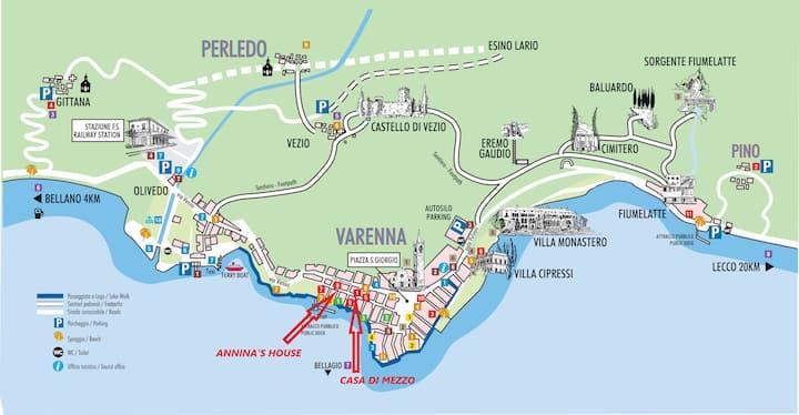 """Varenna """"Casa di Mezzo"""" Historic centre Lake Como"""