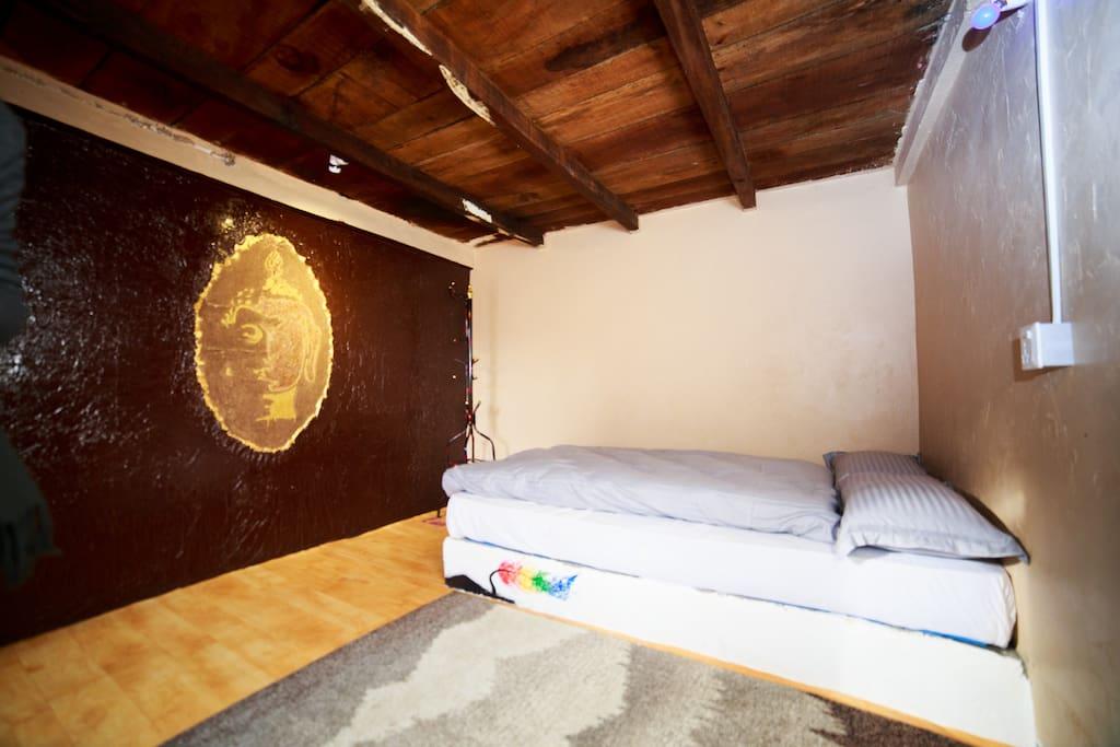 Art of wood Dust, Buddha sketch on wall