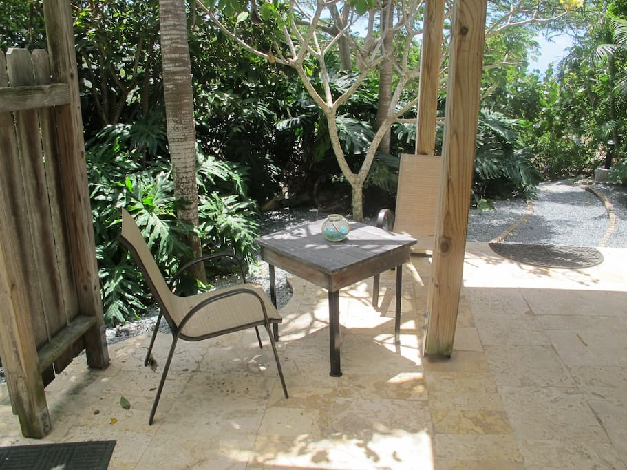 Private garden patio area with BBQ