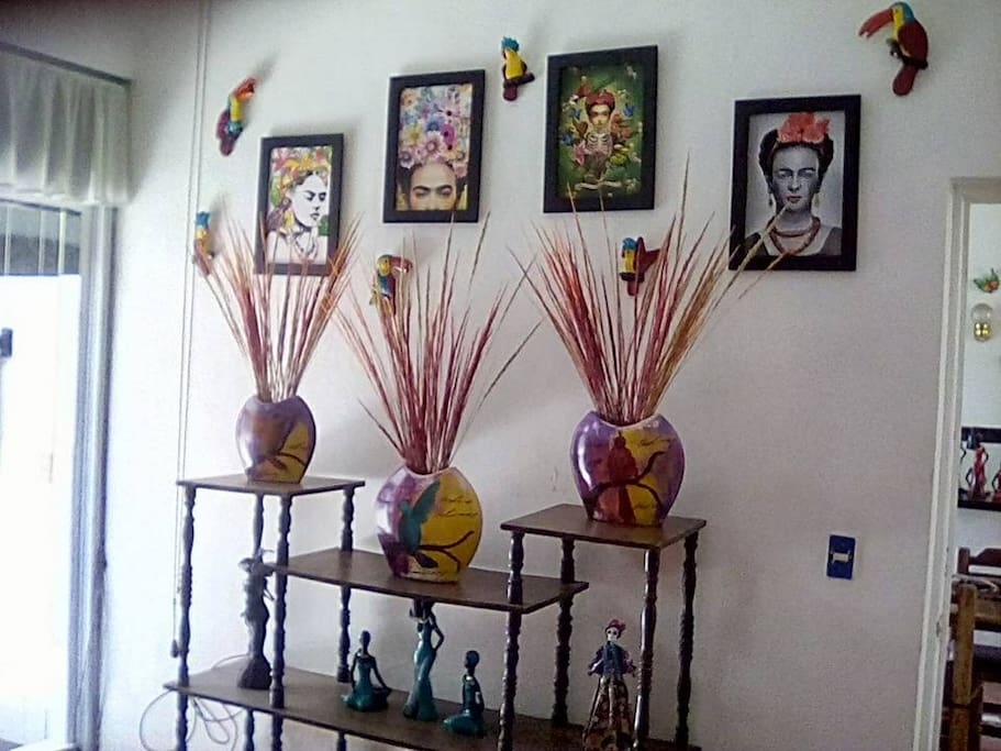 The whole house is decorated with local art.