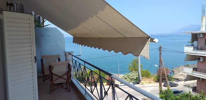 Seafront spacious new apartment!(1h from Athens)