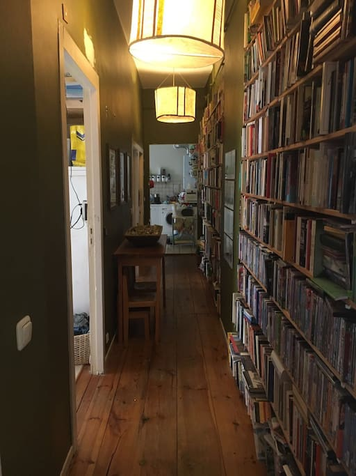 This is the hallway. The shelves have two rows of books, English and German, which you are welcome to read if you put them back.