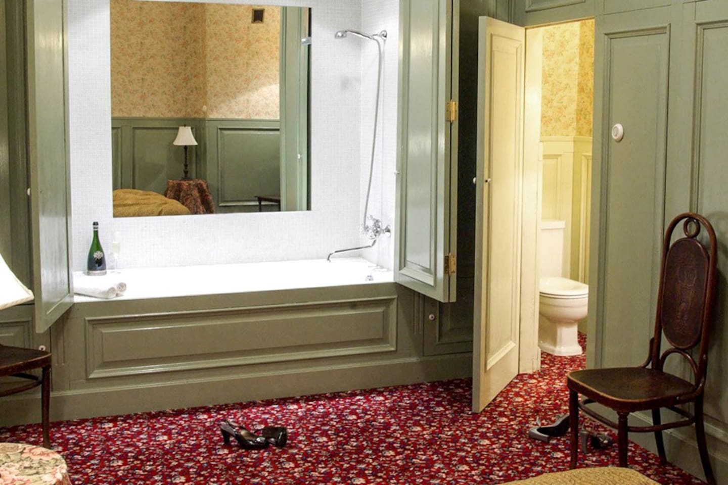 The bath/shower and toilet are built into closets.
