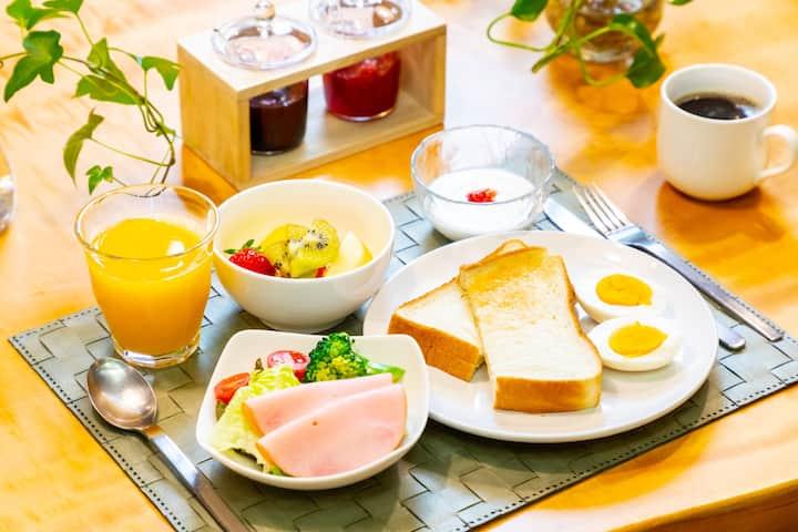 Twin room-B&B w/fruits&salad,1min to NARA station