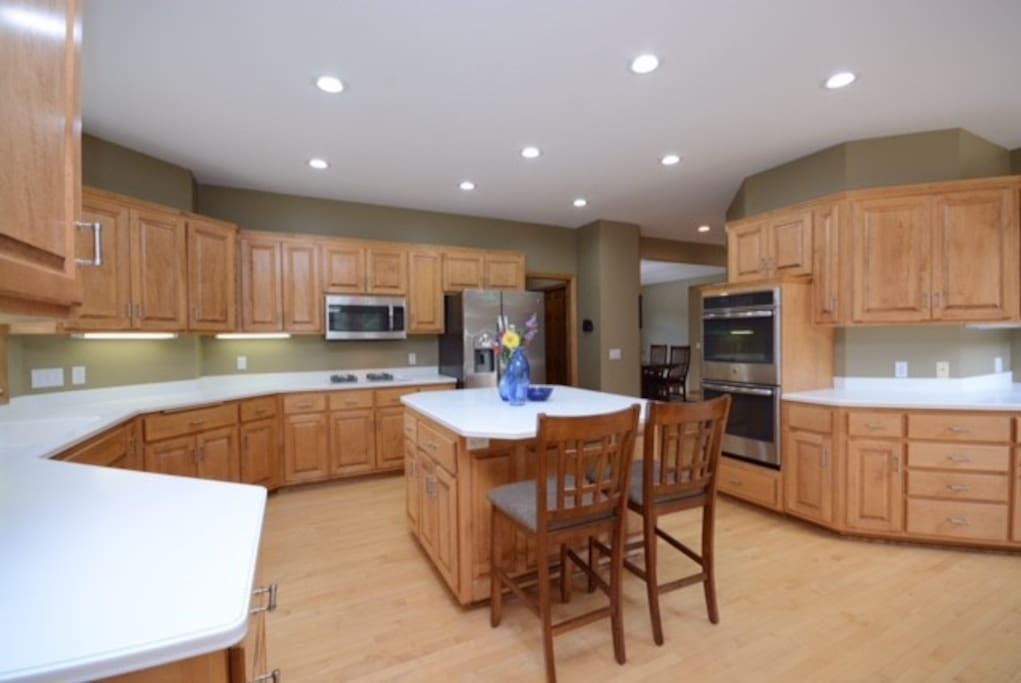 Spacious kitchen with all appliances, cookware and tableware to prepare large or small group meals.