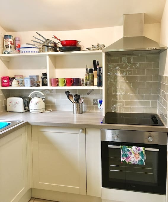 Beautiful brand new kitchen at Ian's cottage is perfect for cooking some delicious meals during your stay!