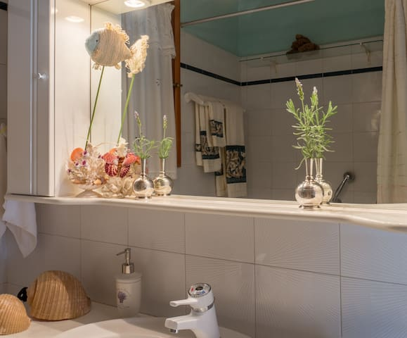 The bathroom with Fenia's nice touches