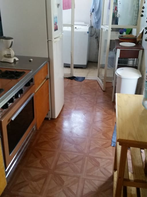 Full Kitchen! Gas stove, full refrigerator and walk-in cupboard