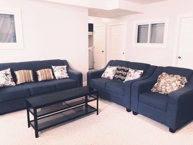 Spacious living room with 2 sofas and one chair