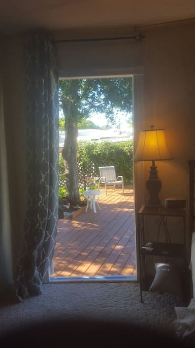 Access to back yard deck through your bedroom.