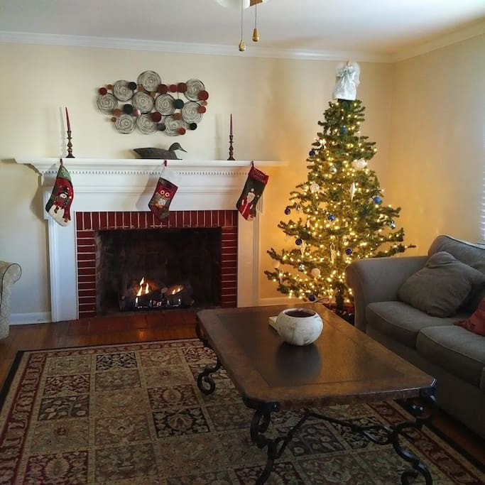 A gas burning fireplace will make this living room very cozy in the winter.