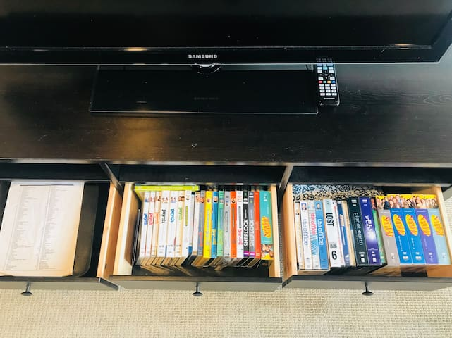 A binder full of DVDs and an extensive set of 90's/00's comedy TV.