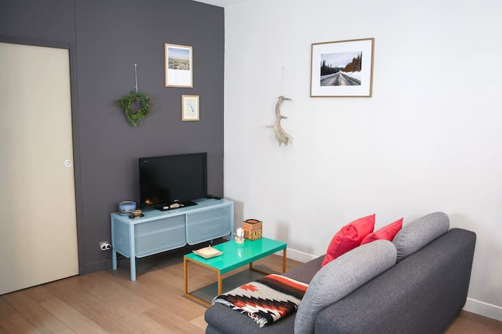 Coin salon avec TV et lecteur DVD