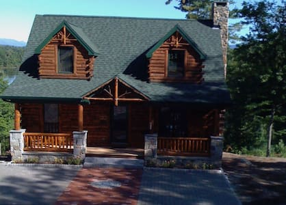 Stunning waterfront log cabin with mountain views. - Conway - Hus