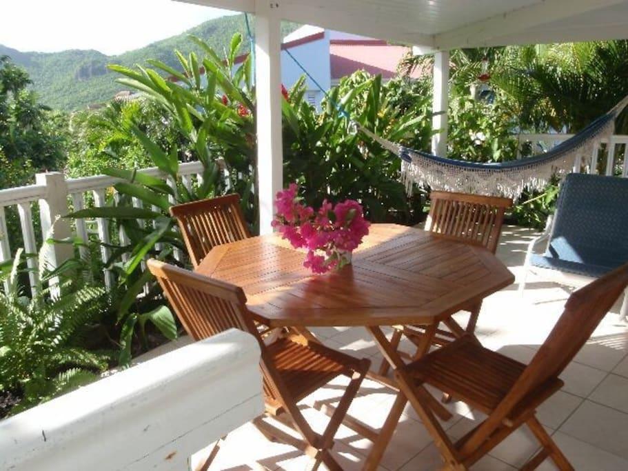 Jolie Terrasse avec fleurs tropicaux