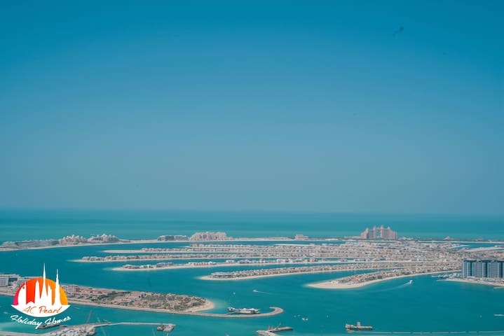 The Palm Jumeirah Island can be viewed from the main balcony, accessed from the living room.  Viewed from above, the manmade island resembles a stylised palm tree, which was built from reclaimed land mass and a series of artificial archipelagos.