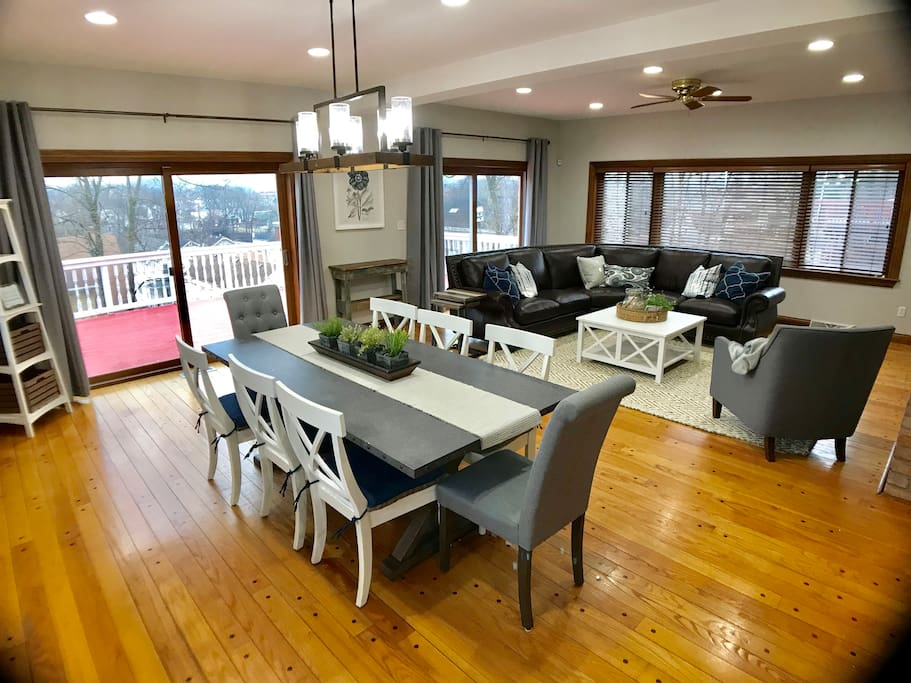 Great room/ Dining room combination with access to a large deck.