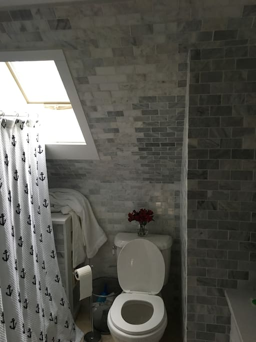 Upstairs bath is smaller, but was updated less than a year ago - just like new!