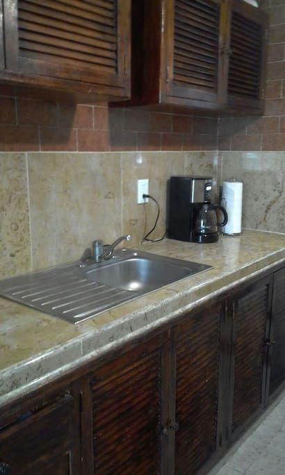 Kitchen.   Includes toaster, blender, coffee maker, and everything you would need to fix your meals.