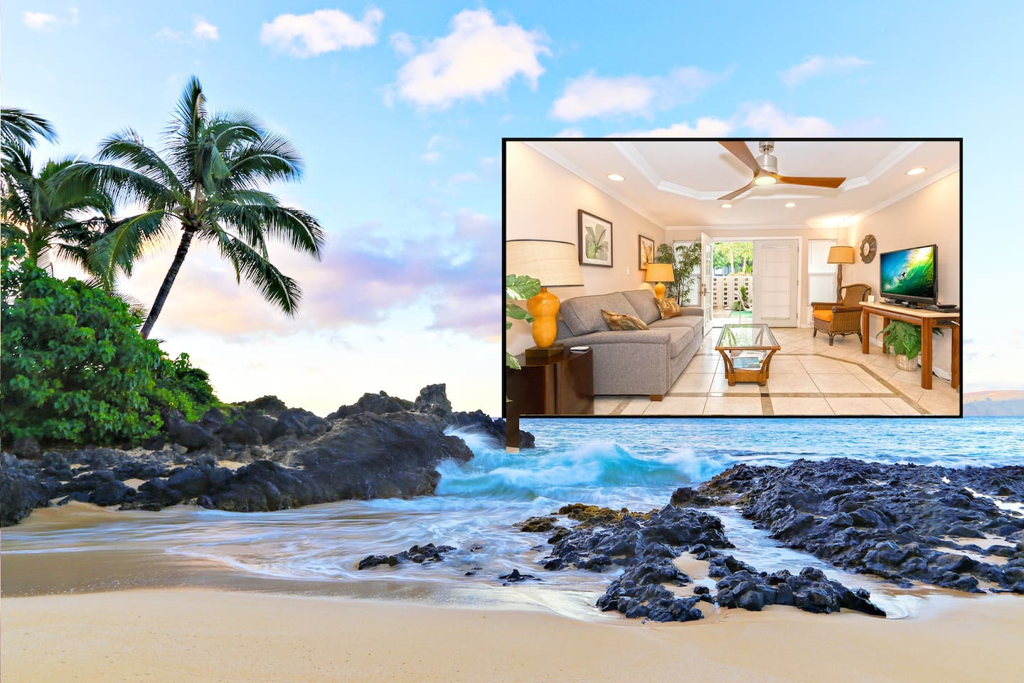 """The south end of Cove Beach, a secluded """"secret beach"""" located half a block north of apartment, with an inset of the interior of the apartment"""