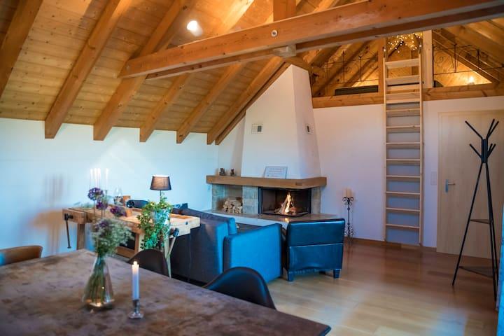 einzigartiges Dachzimmer mit Balkon und Bergsicht.