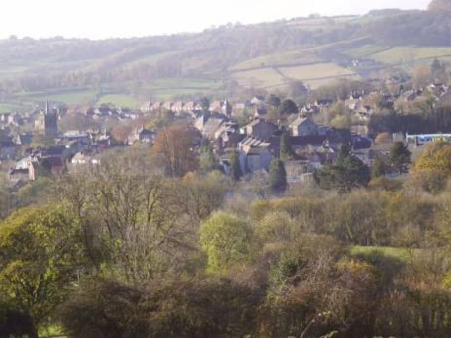 View over Wirksworth from cottage