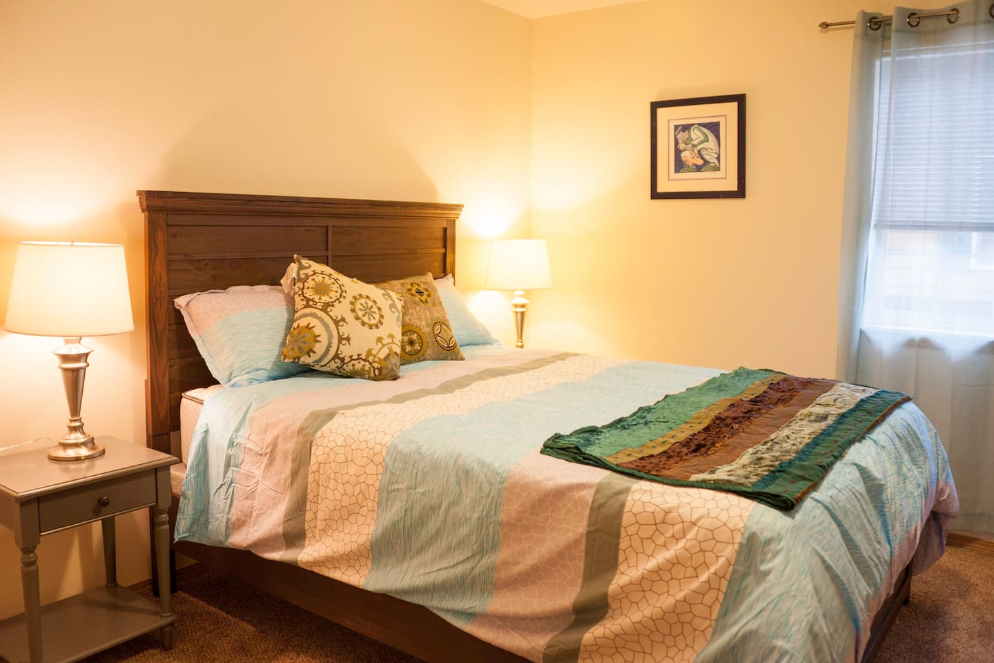 Bedroom 1 with queen size bed. Extra fold out sleeping pad available in the closet.