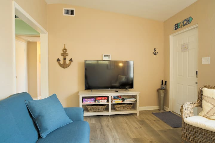 Living room with sofa bed and  55 inch Roku Smart TV