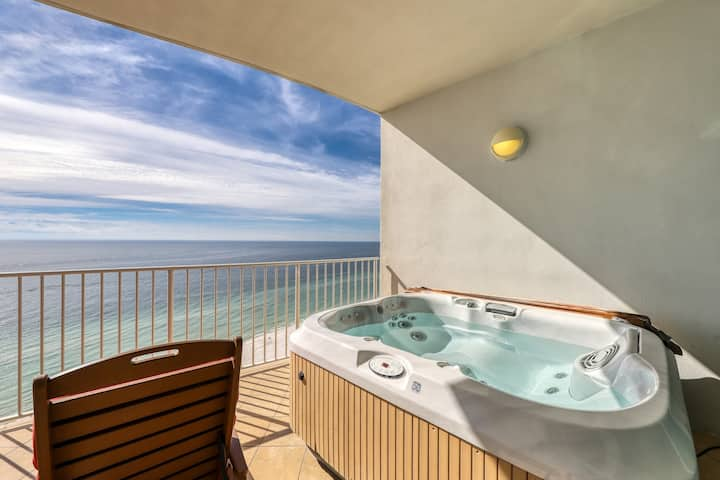 Gulf front condo w/private hot tub, beachfront pools, a lazy river and tennis!