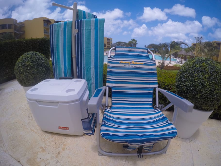 Chairs,Towels and cooler