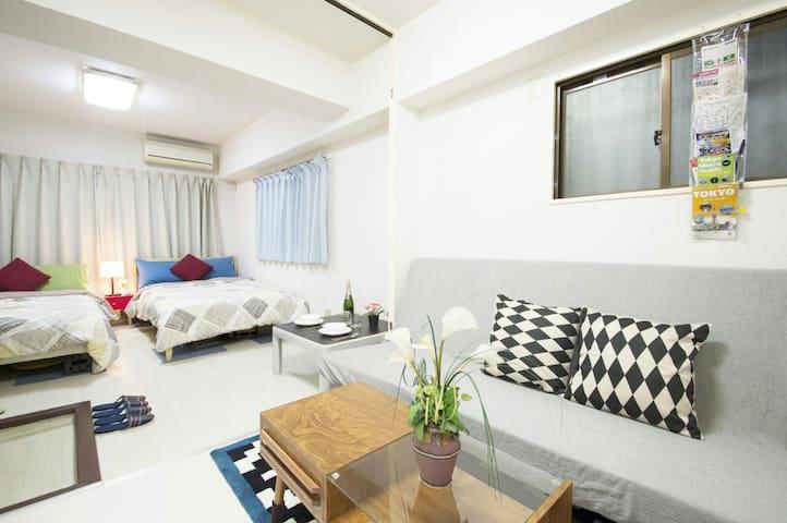 Shinjuku Sunny Apt FlatRate for4+WiFi - Shinjuku-ku - Lägenhet