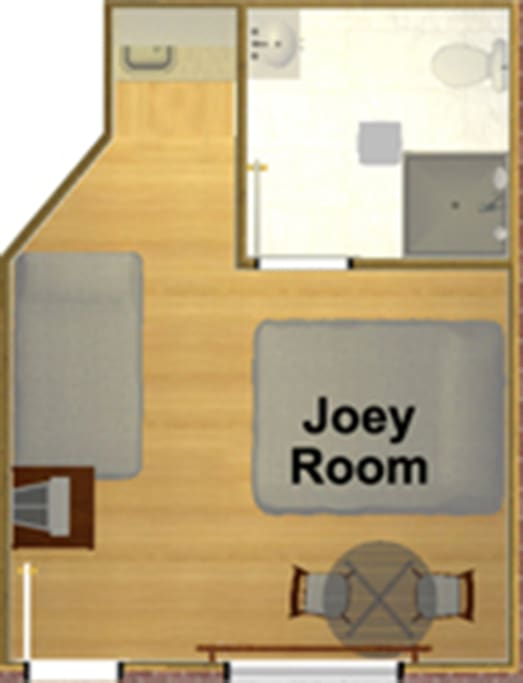 Floor plan.  Twin share/ double bedroom with ensuite.