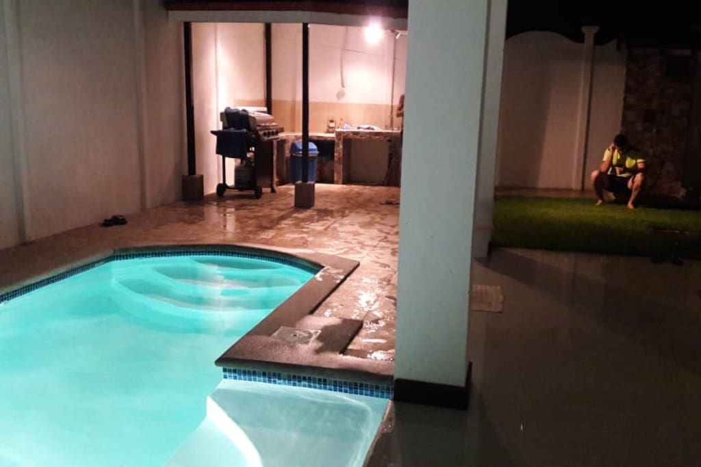 The outdoor cooking area and pool are nicely lit to host evening activities as well.