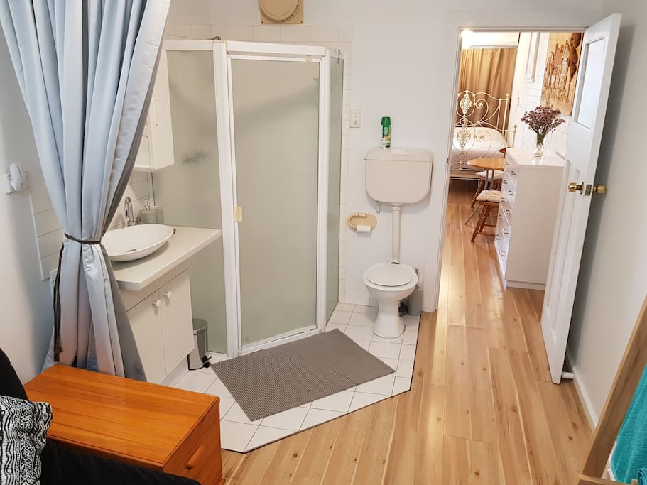 Bathroom, curtain pulls across for extra privacy.