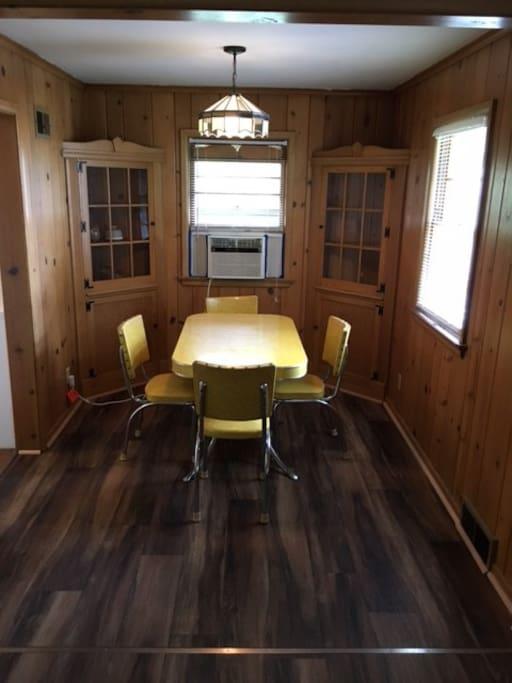 Dining room in original pinewood.