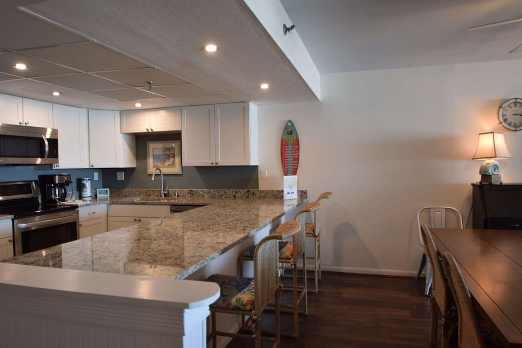New renovated kitchen with granite counter tops and stainless steel appliances. Unit sleeps 9ppl!  Located on the 3rd floor!