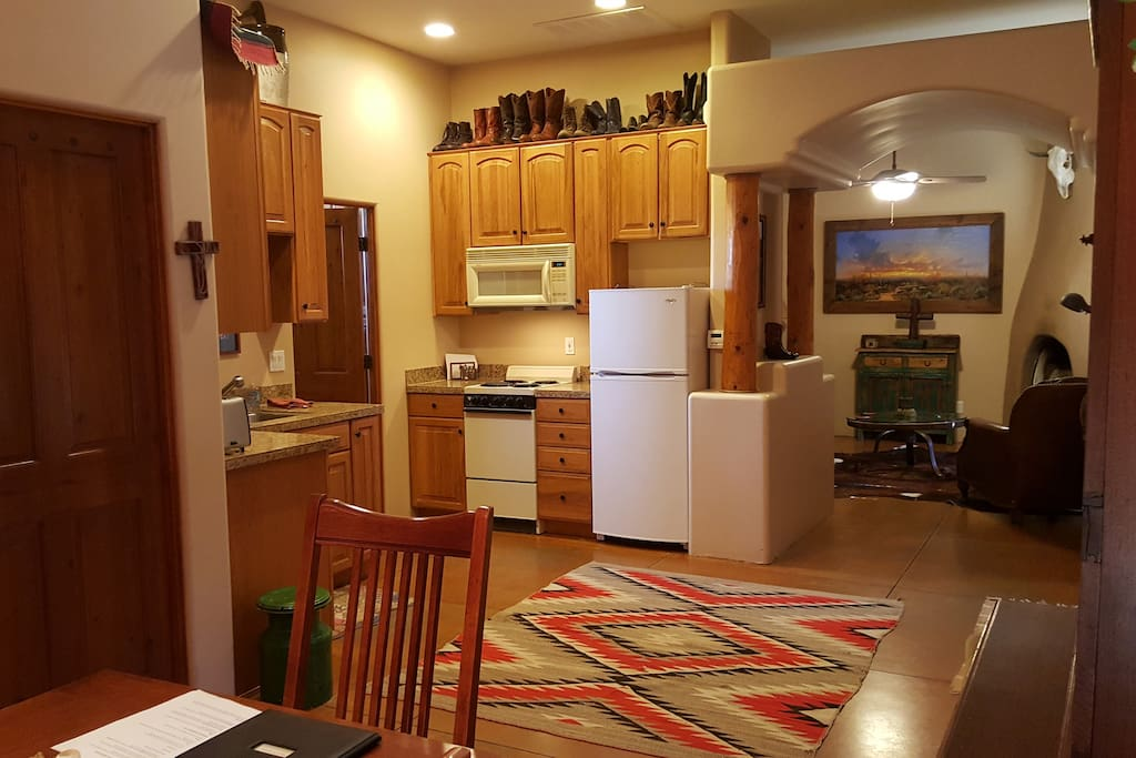Kitchen with view of living room