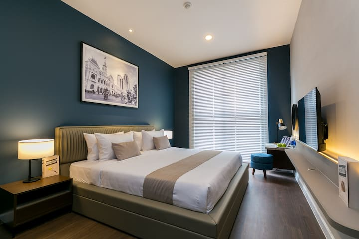 Master Bedroom with King bed and smart TV