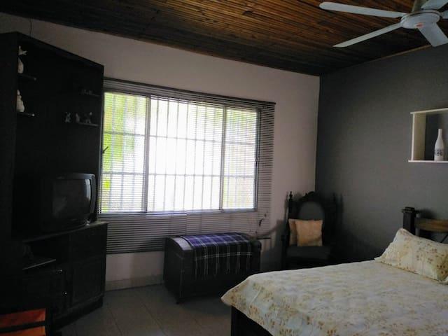 La ventana del cuarto tiene vista al jardín lateral de la casa.