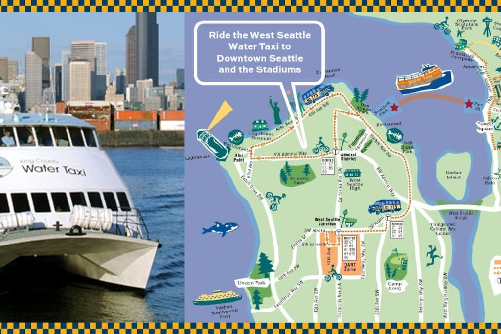 Ride the West Seattle Water Taxi to Downtown and the Stadiums. Free shuttle picks up on Admiral Way. Taxi runs 7 days a week April-October, weekdays only November-March.