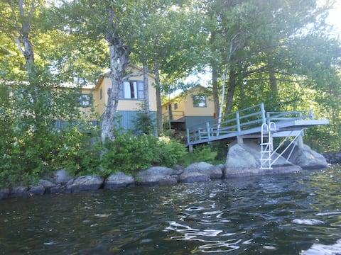 Sunapee area lakeside cottages trio on Sand Pond