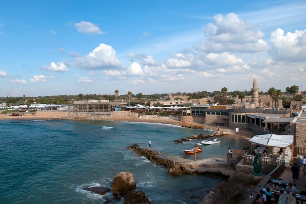 Caesarea old port 2 km walk on the beach