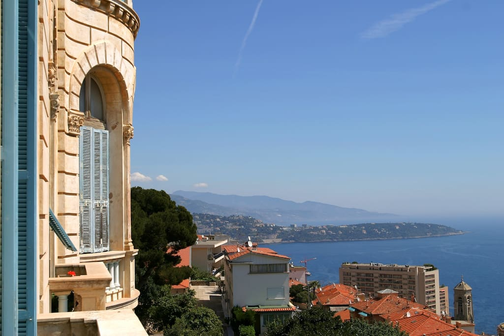 The Riviera Palace colossal, majestic Belle-Epoque architecture with its gargoyles - overlooking the mediterranean.