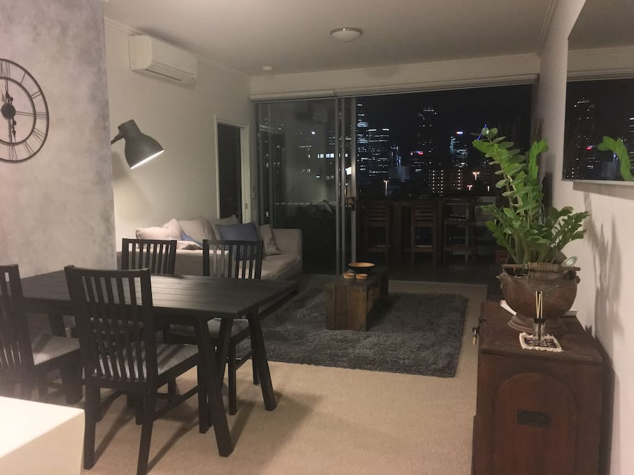 Open lounge room and balcony.