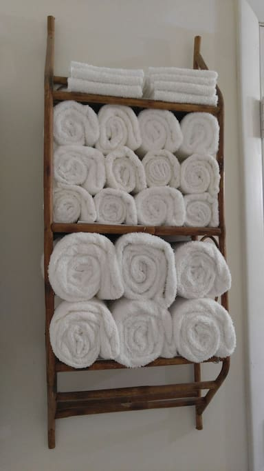 Lots of fresh towels, hand towels and washcloths in shared bathroom attached to king bedroom. I have just enough for your room and the display. Please don't take any home or you will be charged. Lol