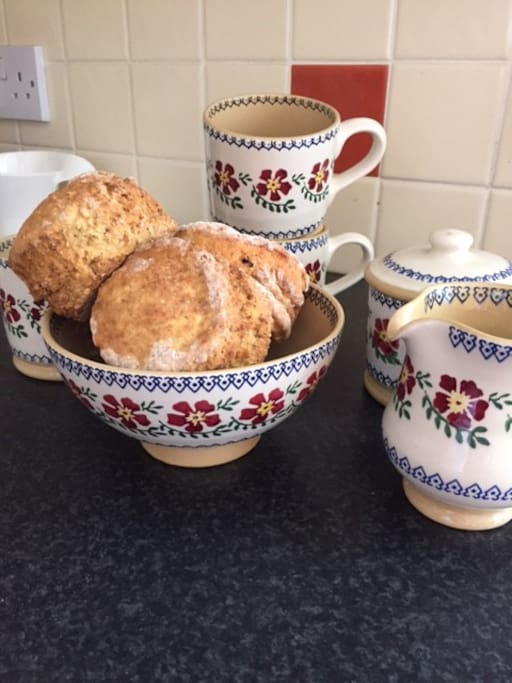 Always Tea and Scones on arrival for every visitor to my home!