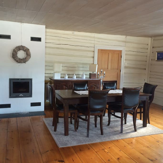 Table for 6-8 people, fire place, timber walls from 1835!